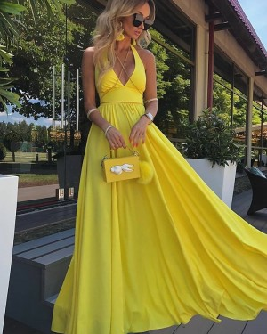 Halter Yellow Satin Pleated Simple Prom Dress PD2095