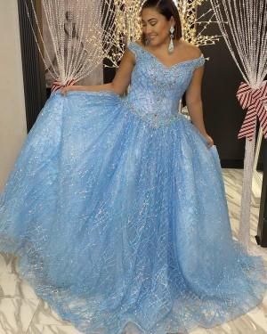 Light Blue Sequin Pleated Beading V-neck Prom Dress PD2096