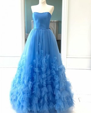 Sky Blue Pleated Tulle Ruffled Strapless Prom Dress PD2103
