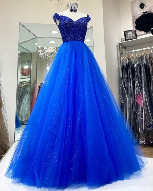 Blue Beading Bodice Tulle Off the Shoulder Prom Dress PD2107