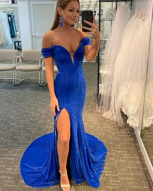 Blue Velvet Mermaid Off the Shoulder Prom Dress with Side Slit PD2108