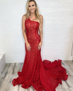 Elegant Red One Shoulder Lace Mermaid Prom Dress PD2111