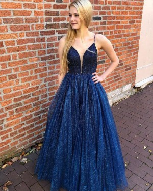 Navy Blue Spaghetti Straps Pleated Sequin & Beading Bodice Prom Dress PD2112