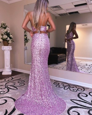 Spaghetti Straps Lavender Two Piece Sequin Mermaid Prom Dress with Side Slit PD2113