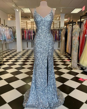 Silver Sequin Mermaid V-neck Prom Dress with Side Slit PD2115