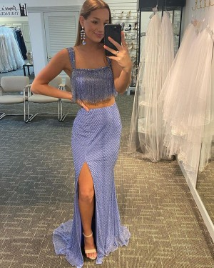 Two Piece Lavender Sequin Tulle Square Side Slit Prom Dress with Tassels PD2117