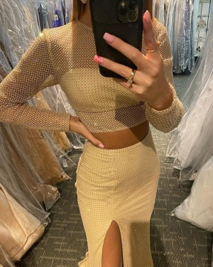 Light Yellow Long Sleeve Cross Net Lace Two Piece Mermaid Prom Dress with Side Slit PD2119