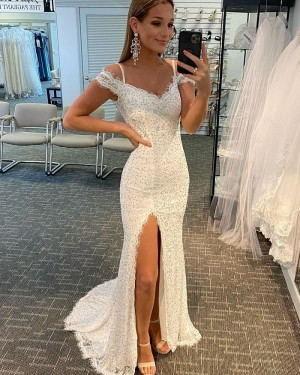 White Beading Lace Cold Shoulder Mermaid Prom Dress with Side Slit PD2122