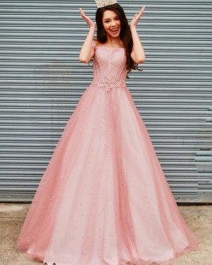 Coral Pink Off the Shoulder Tulle Beading & Applique Prom Dress PD2123