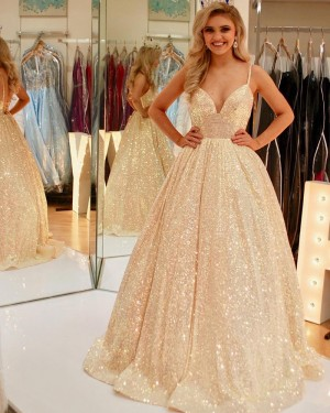 Sparkle Spaghetti Straps Gold Sequin Ball Gown Prom Dress PD2124