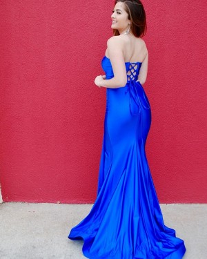 Two Piece Royal Blue Strapless Satin Prom Dress with Side Slit PD2125