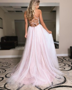 Pearl Pink Spaghetti Straps Tulle Beading Prom Dress with Side Slit PD2126