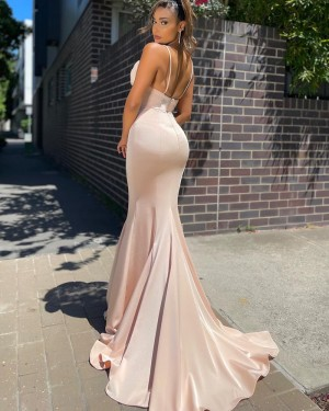 Spaghetti Straps Dusty Pink Ruched Beading Satin Prom Dress PD2127