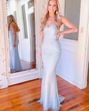 Spaghetti Straps Sky Blue Cross Net Lace Simple Mermaid Prom Dress PD2130