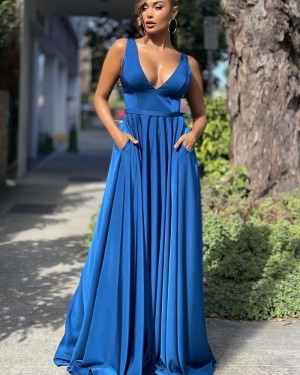 V-neck Blue Satin Simple Prom Dress with Pockets PD2133