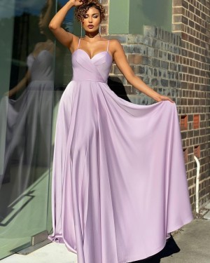 Spaghetti Straps Light Purple Simple Satin Prom Dress PD2134