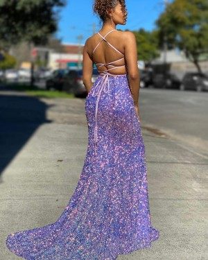 Blue Sequin Mermaid Spaghetti Straps Prom Dress with Side Slit PD2135