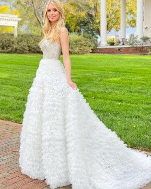 Beading Bodice Strapless Prom Dress with Ivory Ruffle Skirt PD2136