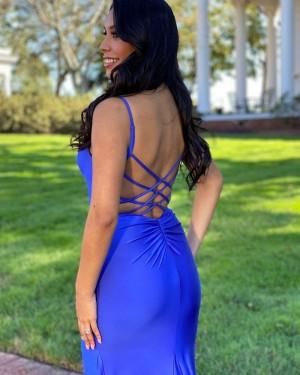 Spaghetti Straps Blue Satin Simple Mermaid Prom Dress PD2137