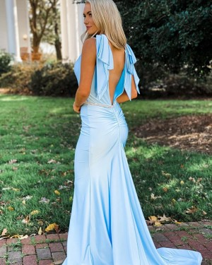 V-neck Light Blue Mermaid Simple Prom Dress with Beading Belt PD2138