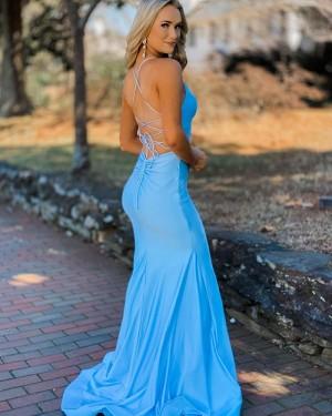 Spaghetti Straps Light Blue Satin Mermaid Simple Prom Dress PD2139