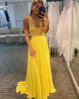 Beading Bodice Yellow Chiffon V-neck Prom Dress PD2141