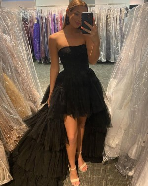 Strapless Black Tulle High Low Prom Dress with Layered Skirt PD2142