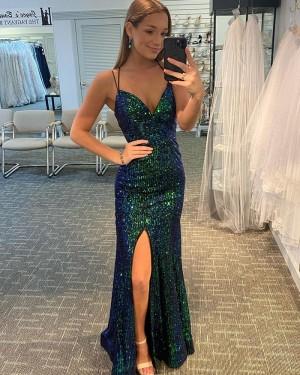 Dark Green Sequin Mermaid Spaghetti Strap Prom Dress with Side Slit PD2143