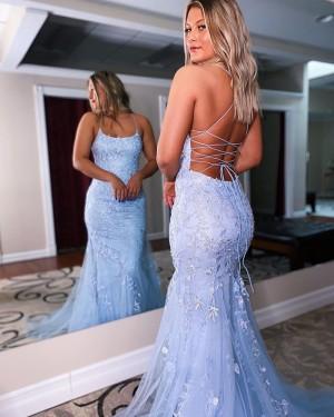 Applique Lavender Spaghetti Straps Mermaid Prom Dress PD2146
