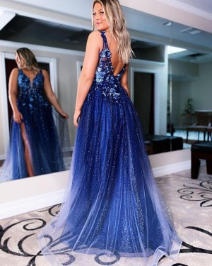 Navy Lace Applique Sequin Tulle V-neck Prom Dress with Side Slit PD2147