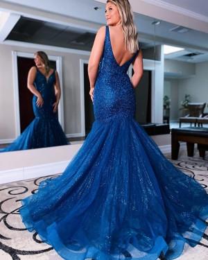 Blue Beading & Sequin Mermaid V-neck Prom Dress PD2148