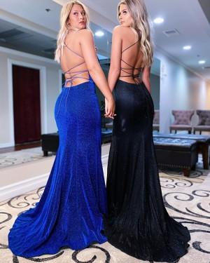 Blue Velvet Mermaid Spaghetti Straps Prom Dress with Side Slit PD2150