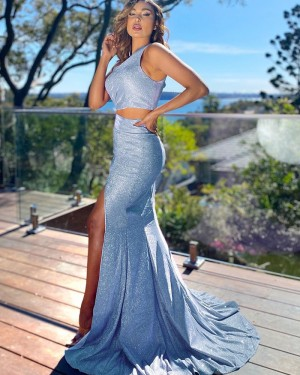 Two Piece Light Blue Sparkle Sequin Mermaid One Shoulder Prom Dress with Side Slit PD2152