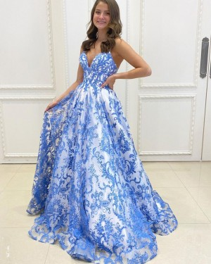 Blue Lace A-line Spaghetti Straps Prom Dress PD2156