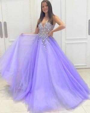 Beading Bodice Lavender Tulle V-neck Prom Dress PD2157