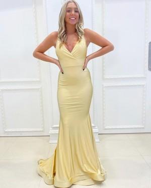 Spaghetti Straps Light Yellow Satin Simple Mermaid Prom Dress PD2161