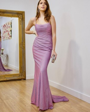 Square Sparkle Lavender Ruched Simple Mermaid Prom Dress PD2165