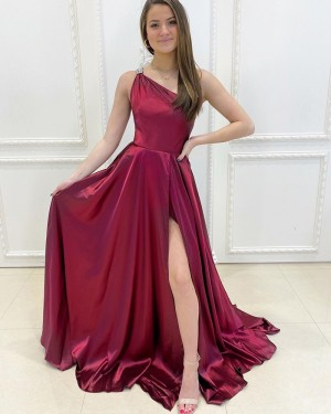 One Shoulder Burgundy Satin Simple Prom Dress with Side Slit PD2166