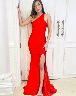 One Shoulder Red Satin Mermaid Simple Prom Dress with Side Slit PD2167