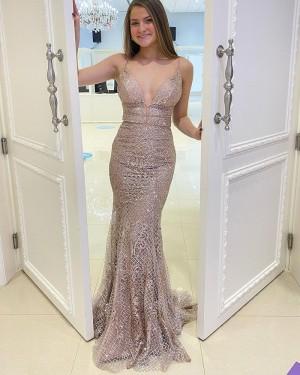 Beading Lace Mermaid Spaghetti Straps Prom Dress PD2168