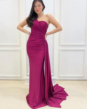One Shoulder Burgundy Ruched Satin Mermaid Simple Prom Dress PD2169