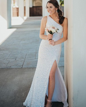 Beading White One Shoulder Mermaid Prom Dress With Side Slit PD2177