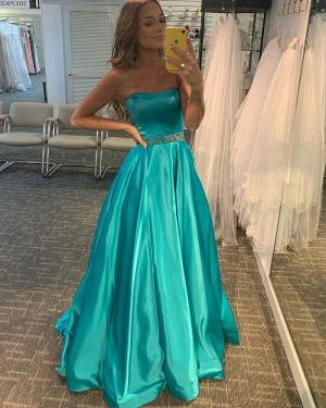 Simple Satin Strapless A-Line Prom Dress With Beading Waist PD2178