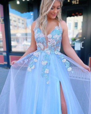 Dusty Blue Spaghetti Straps Applique Tulle Formal Dress With Side Slit PD2180