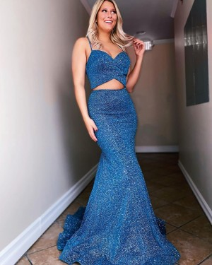 Spaghetti Straps Two Piece Navy Blue Sequin Mermaid Prom Dress PD2181