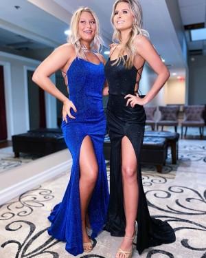 Velvet Blue Mermaid Spaghetti Straps Prom Dress With Side Slit PD2182