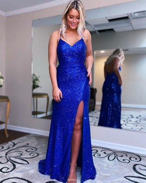 Blue Ruched Spaghetti Straps Sequin Prom Dress With Side Slit PD2183