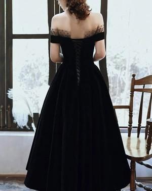 Black Ankle Length Off The Shoulder Satin Formal Dress With Pockets PD2186