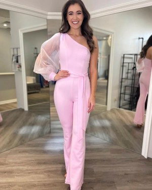 One Shoulder Satin Pink Jumpsuit With Long Tulle Sleeves PD2187