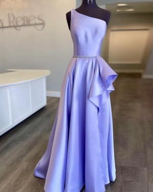 Lavender Beading One Shoulder Satin Prom Dress With Side Slit PD2188